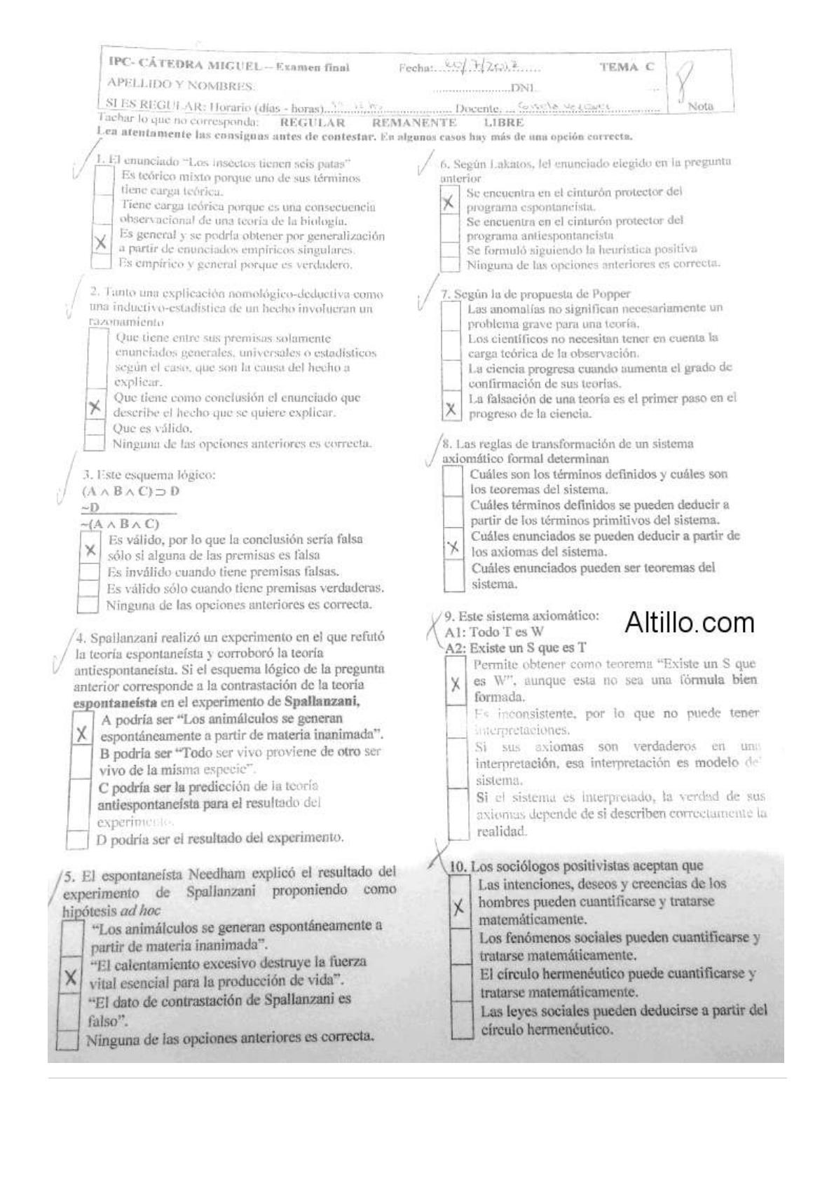 Modelo De Examen Examen Final Cátedra Miguel Ipc 40 Cbc